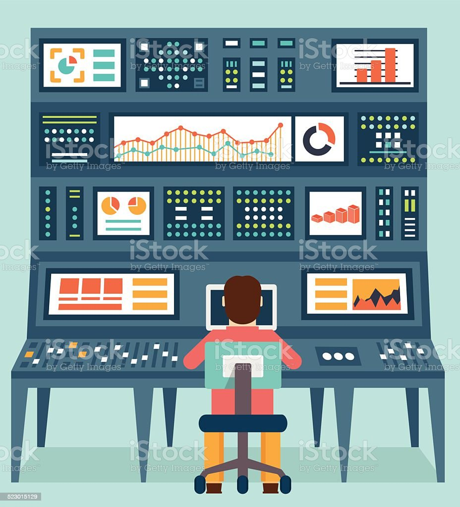 Vector flat concept of analytics information and data handling vector art illustration