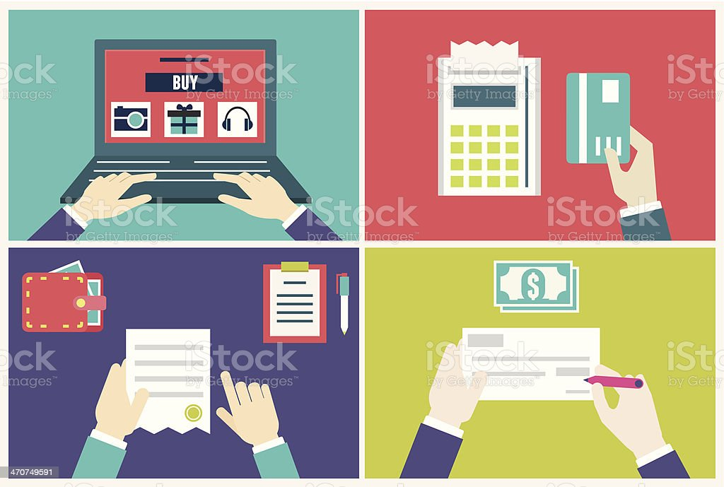 Vector flat concept of process order and delivery vector art illustration