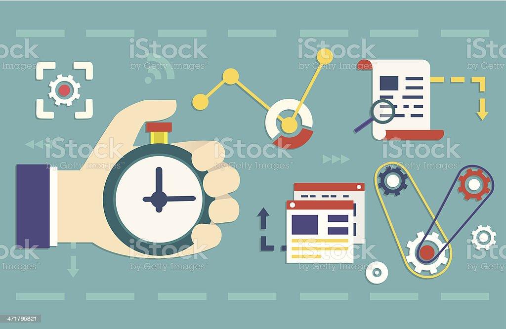 Vector flat concept of process social media business and marketing vector art illustration