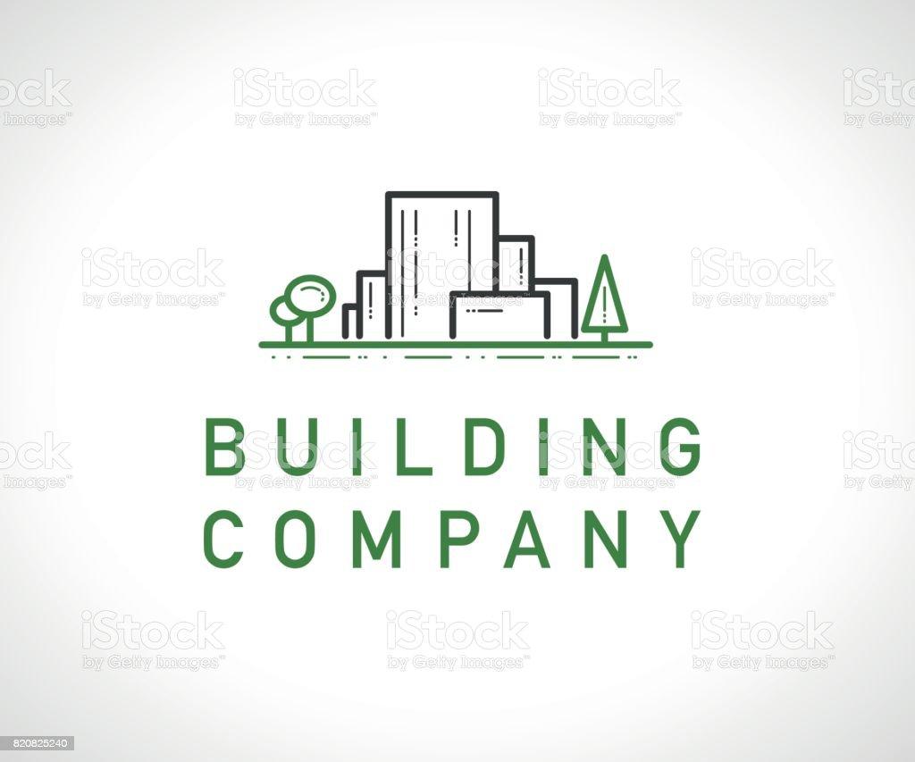 ベクトル フラット建設会社ブランド デザイン テンプレートです。 ベクターアートイラスト