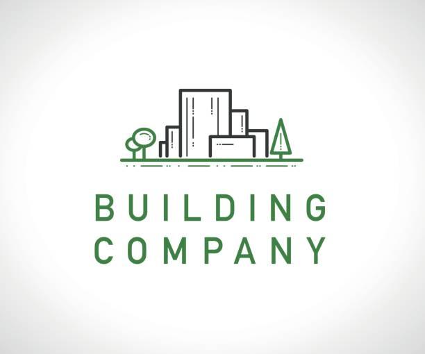 illustrations, cliparts, dessins animés et icônes de vector construction plate société marque modèle. - logos immobilier