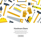 Vector flat construction tools background illustration