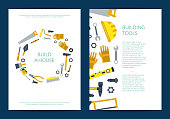 Vector flat construction tools card or white flyer with instruments template illustration