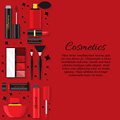 Vector flat cosmetics and beauty card concept. Illustration for design and web.