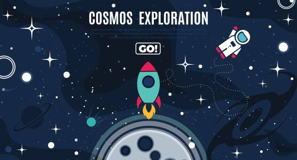 vector flat cosmos design background - copy space stock illustrations, clip art, cartoons, & icons