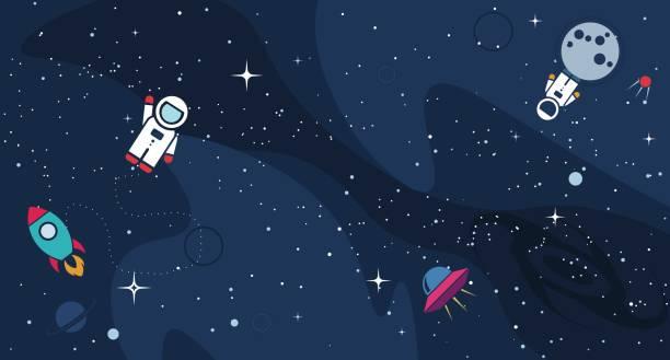 vektor flache kosmos design hintergrund - weltall stock-grafiken, -clipart, -cartoons und -symbole