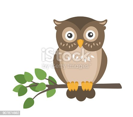 istock Vector flat cute brown owl sitting on branch isolated on white background 907874662