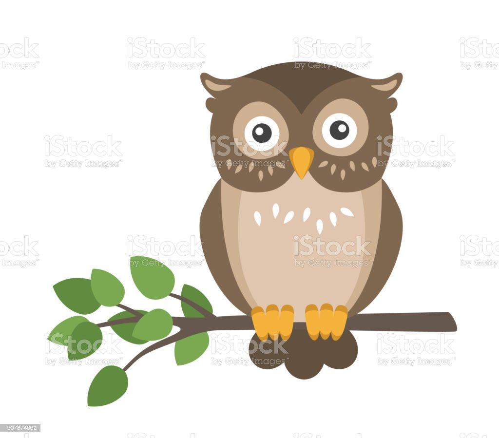 Buho marrón plana lindo vector sentado en la rama aislado sobre fondo blanco - ilustración de arte vectorial