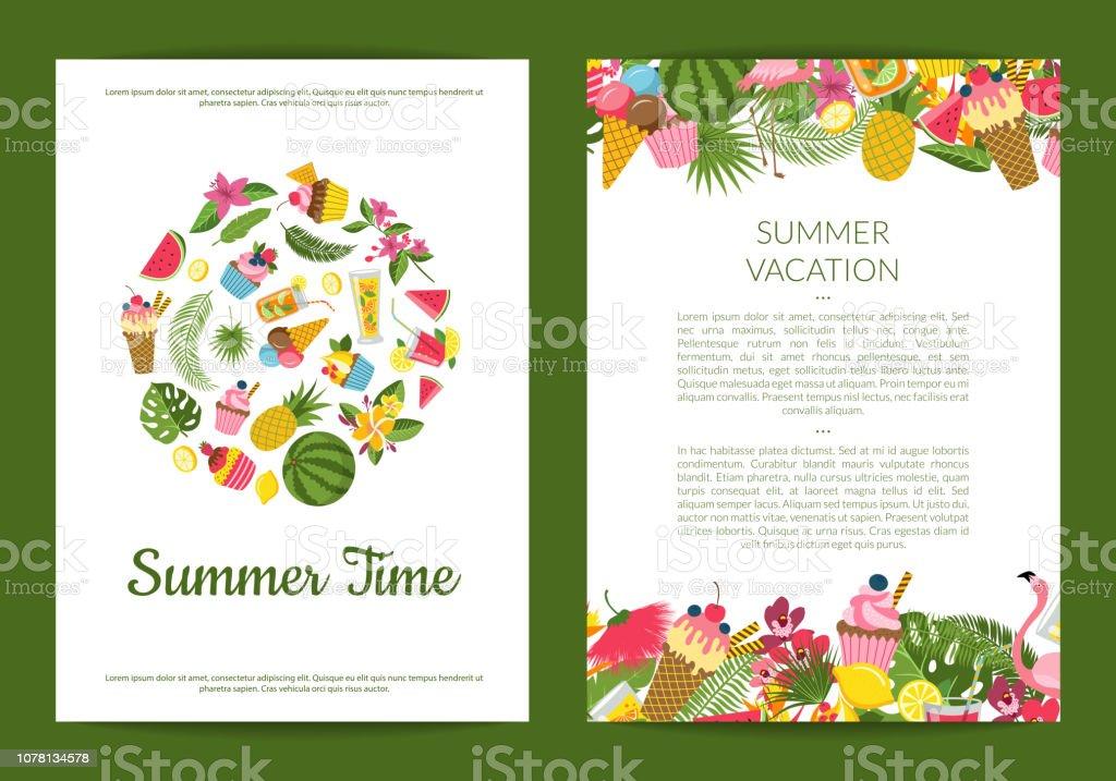 Vector flat cute summer elements, cocktails, flamingo, palm leaves card vector art illustration