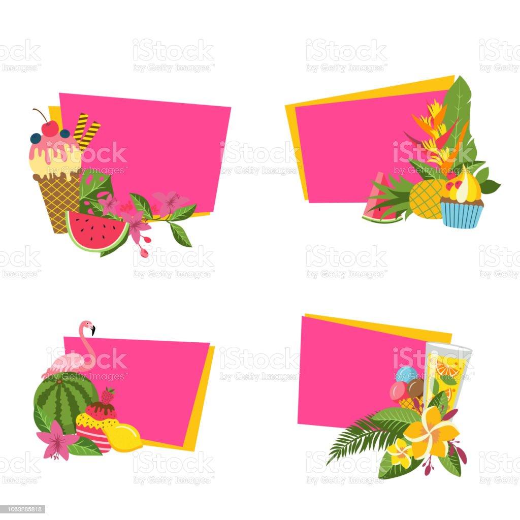 Vector flat cute summer elements, cocktails, flamingo stickers vector art illustration