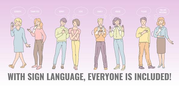 Vector flat deaf-mute people hand gesture language