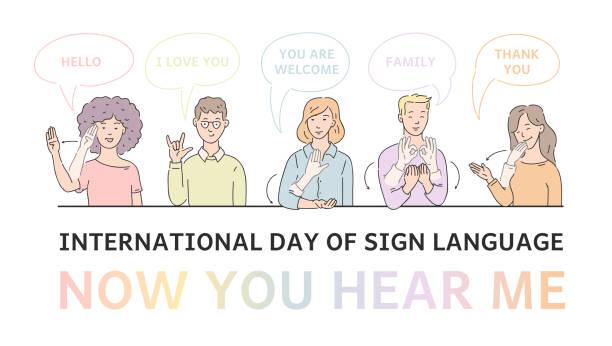 illustrazioni stock, clip art, cartoni animati e icone di tendenza di vector flat deaf-mute people hand gesture language - sordità