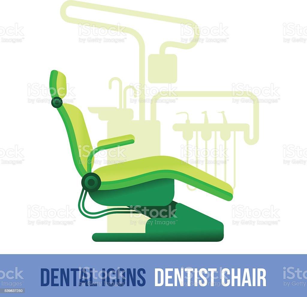 Vector flat dental icon. Dentist chair vector art illustration