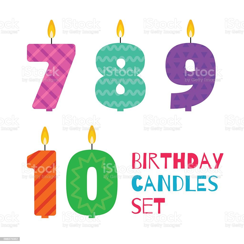 Vector flat design birthday candle set of numbers - Illustration vectorielle