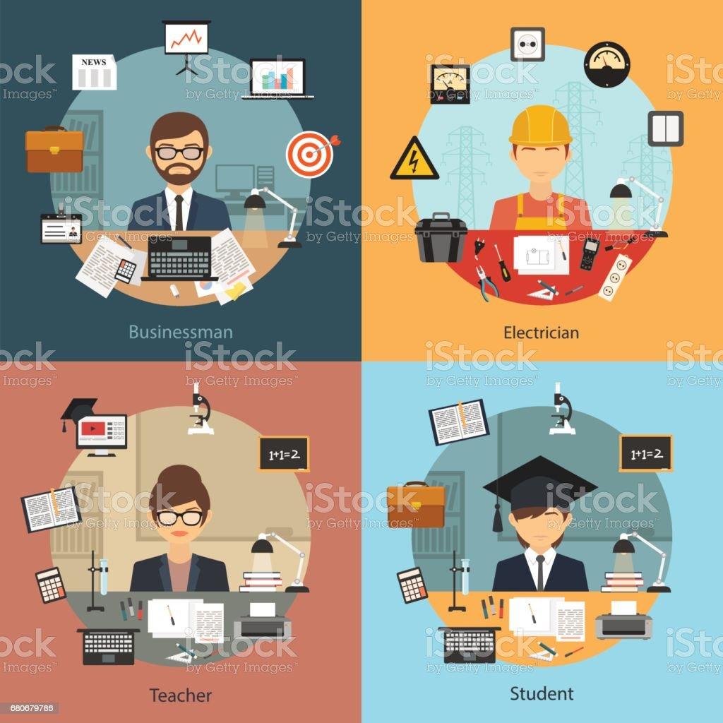 Vector flat design business professional people concept banner vector art illustration