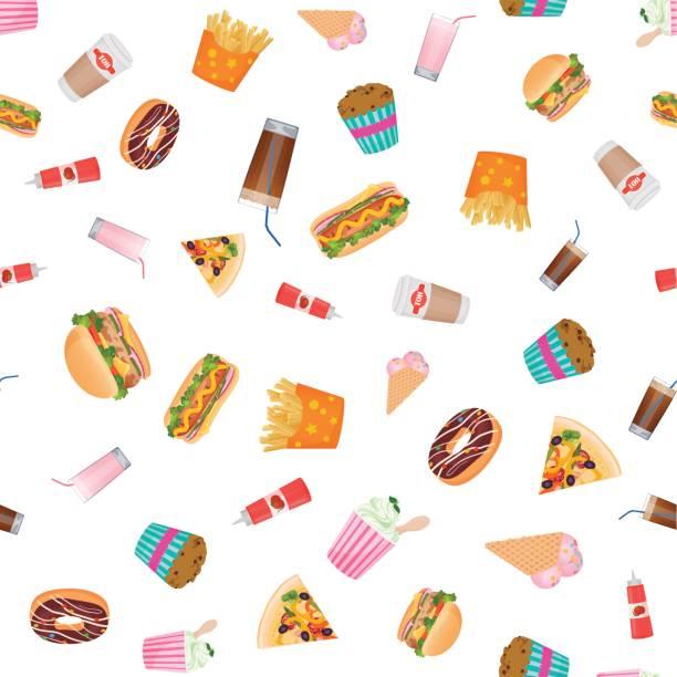 ilustraciones, imágenes clip art, dibujos animados e iconos de stock de fondos de vector diseño plano comida rápida de patrones sin fisuras. - comida chatarra