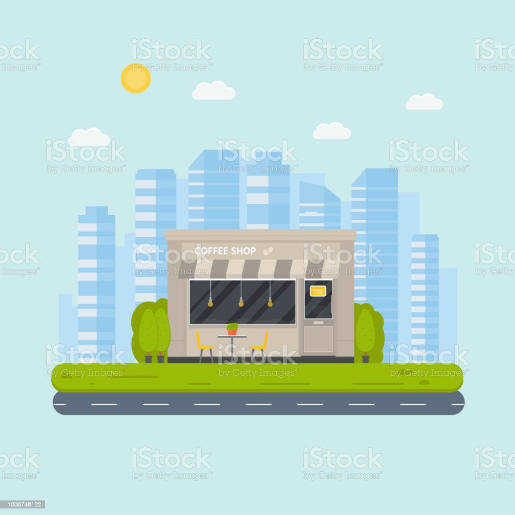 Vector Flat Design Restaurant Exterior And Coffee Shops Facad Stock Illustration Download Image Now Istock