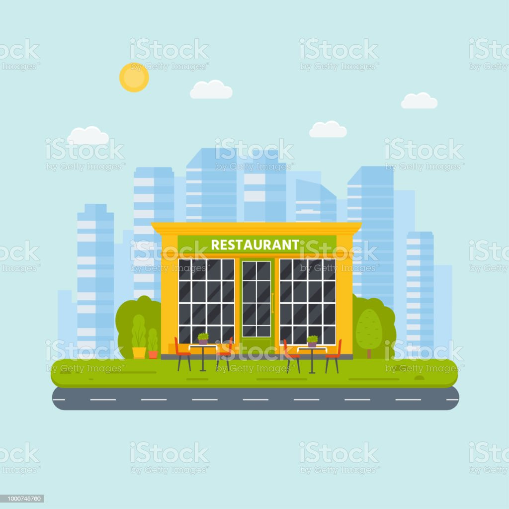Vector Flat Design Restaurant Exterior Shop Facade Stock Illustration Download Image Now Istock