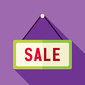 Shopping Sale Sign Icon. Flat Design Vector Illustration with Long Shadow. Merry Christmas and Happy New Year Symbol.