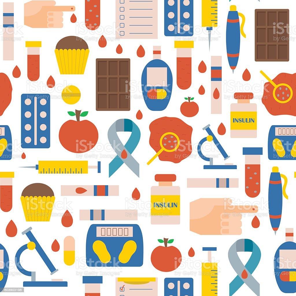 Vector flat diabetes background vector art illustration