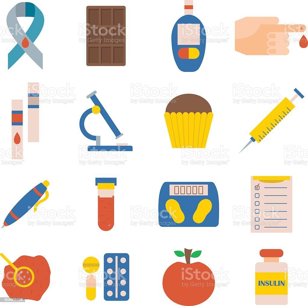 Vector flat diabetes icons vector art illustration