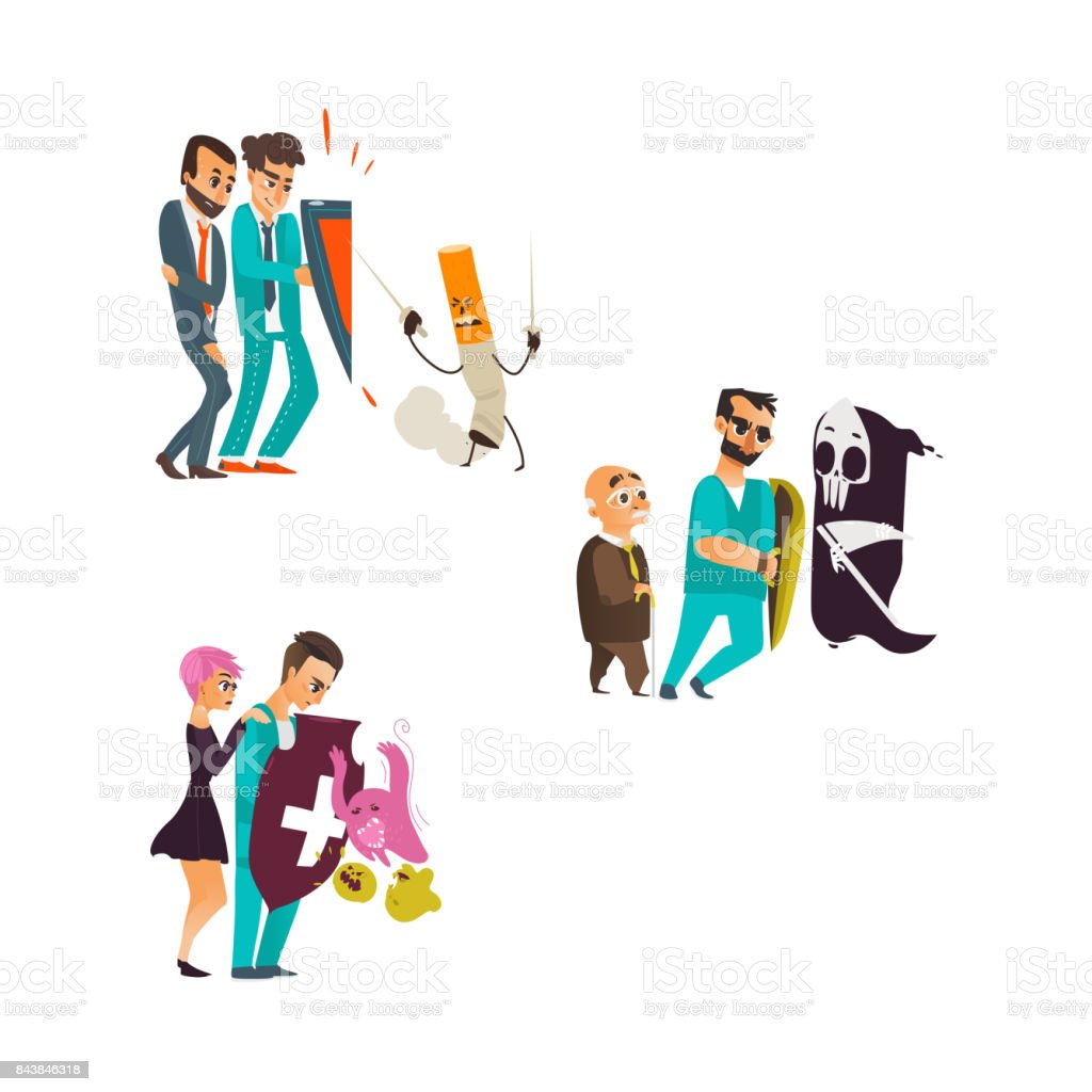 vector flat doctor protecting patient by shield vector art illustration
