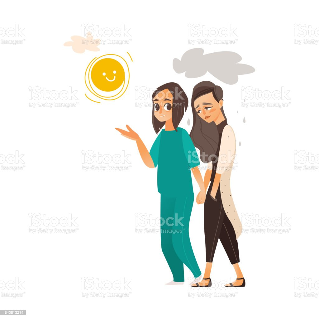 vector flat doctor showing sun to mental patient vector art illustration