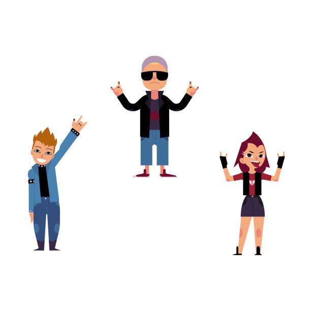 vector flat elderly, young rock women, man set - old man in rocking chair cartoon stock illustrations, clip art, cartoons, & icons