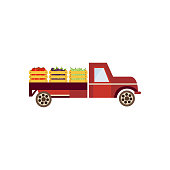 Farmer truck with wooden boxes with harvest vegetables delivering food to market. Vintage car, pickup with agricultural healthy and natural products. Vector flat isolated illustration