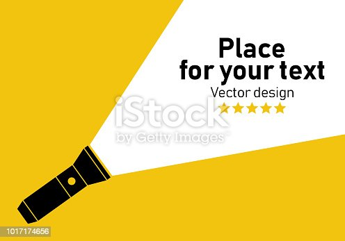 Flashlight icon.Vector flat flashlight illustration.Concept of flat flashlight in dark.Place for your text.