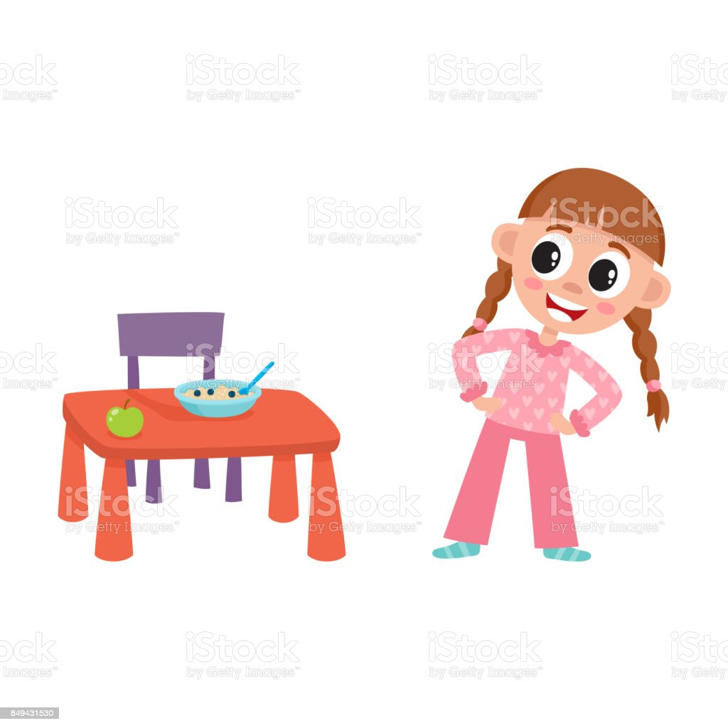 vector flat girl are going to eat apple porridge vector art illustration