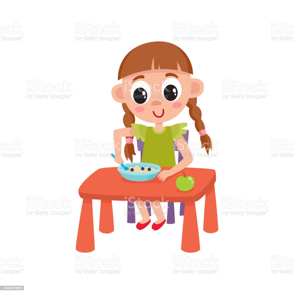 vector flat girl eats apple and porridge vector art illustration