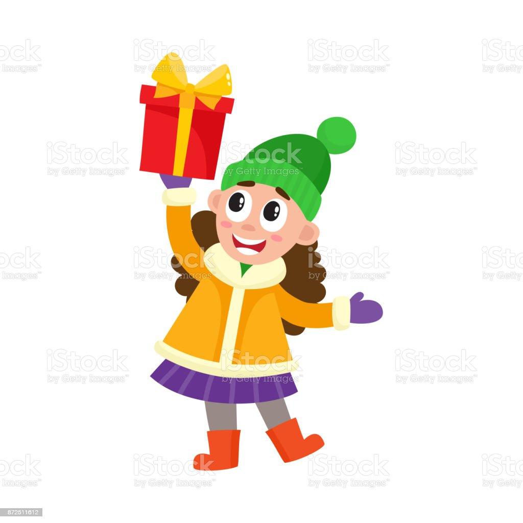 vector flat girl holding present box vector art illustration