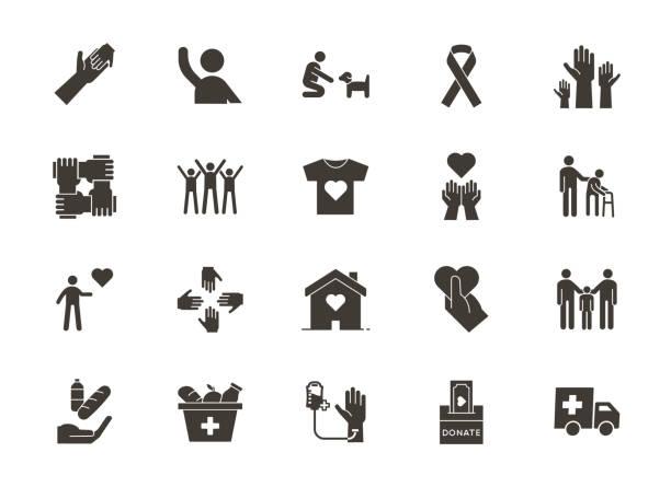 stockillustraties, clipart, cartoons en iconen met vector platte glyph iconen in verband met humanitaire oorzaken-vrijwilligerswerk, adoptie, donaties, liefdadigheid, non-profit organisaties, business teamwork - non profit