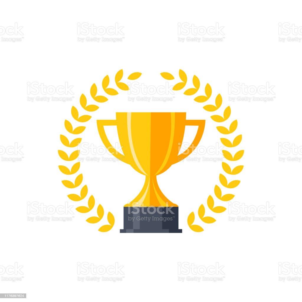 Vector flat golden trophy - Grafika wektorowa royalty-free (Bodziec)