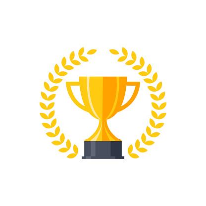 Vector Flat Golden Trophy - Stockowe grafiki wektorowe i więcej obrazów Bodziec