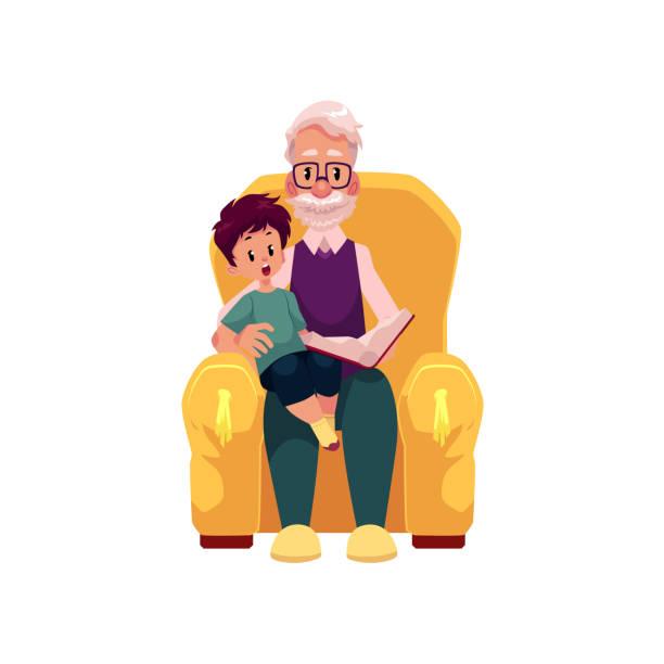 ilustraciones, imágenes clip art, dibujos animados e iconos de stock de nieto de abuelo plano vector sentarse en el sillón - nietos