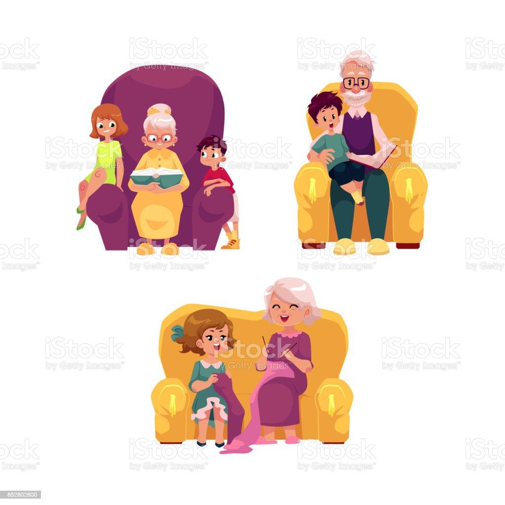ベクトル フラット祖父母と子供セット ベクターアートイラスト