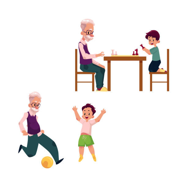 vector flat grandparents and children set - old man playing chess cartoon stock illustrations, clip art, cartoons, & icons