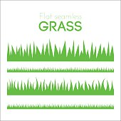 Vector flat grass set isolated on white background