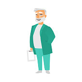 vector flat grey-haired doctor holding clipboard