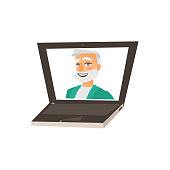 vector flat grey-haired doctor in laptop