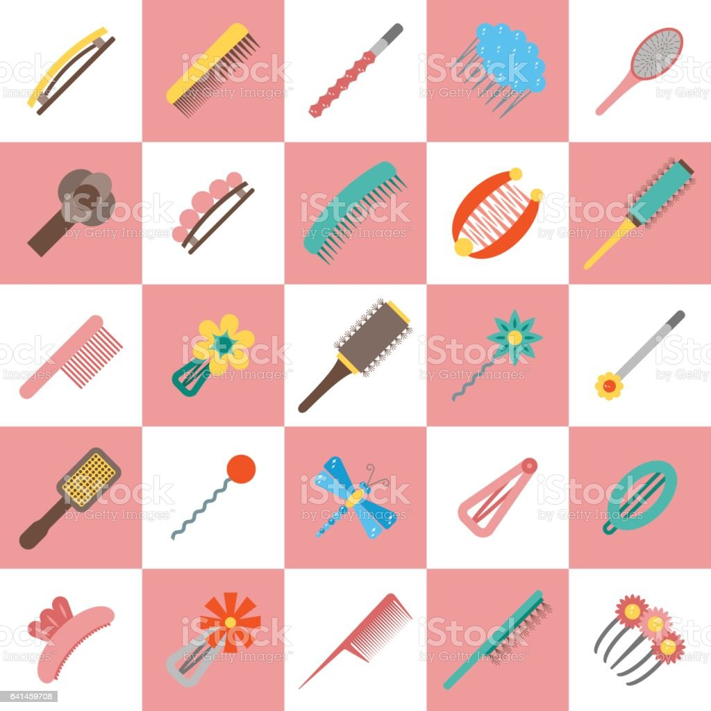 Vector flat hairpins icons vector art illustration