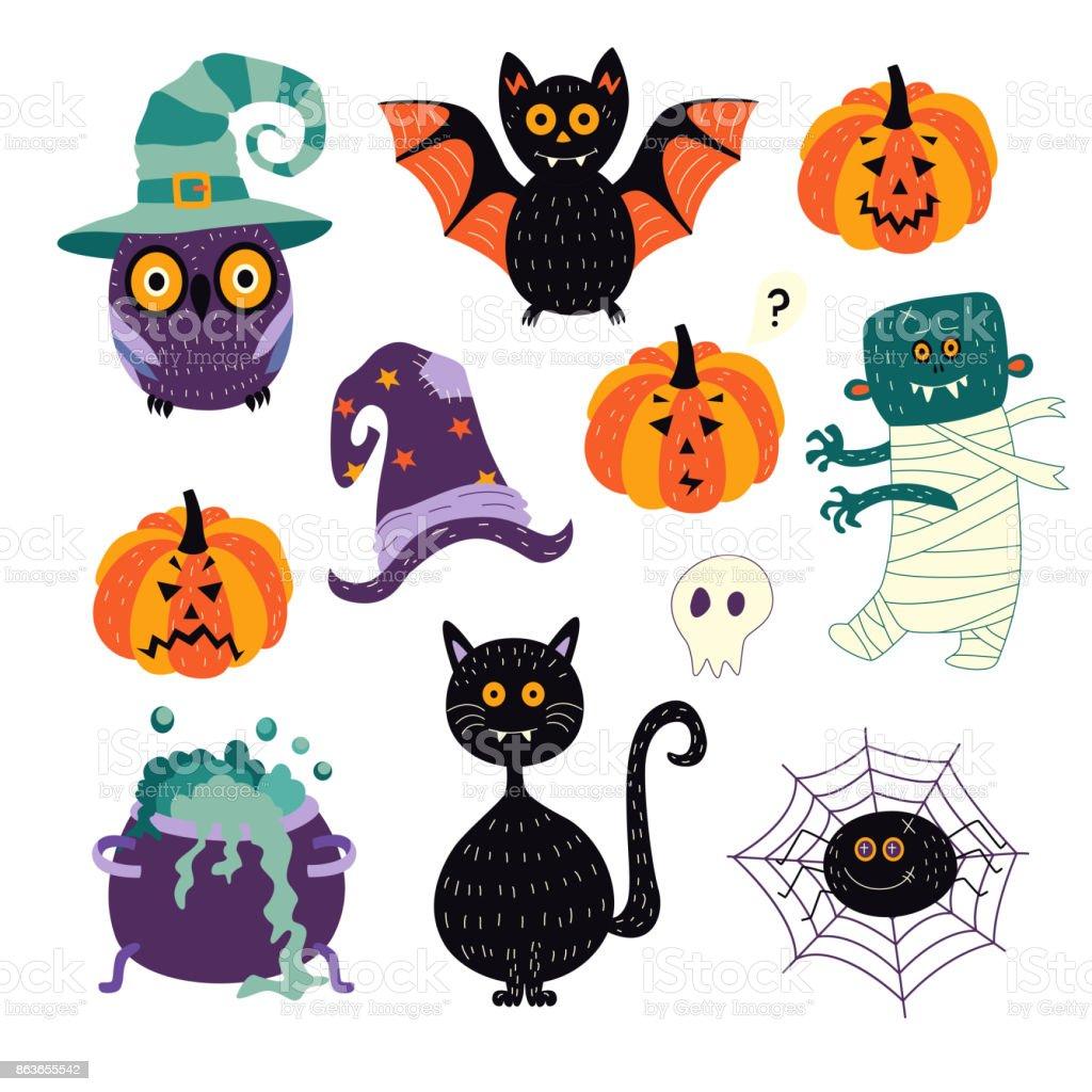 vector flat halloween symbols set vector art illustration