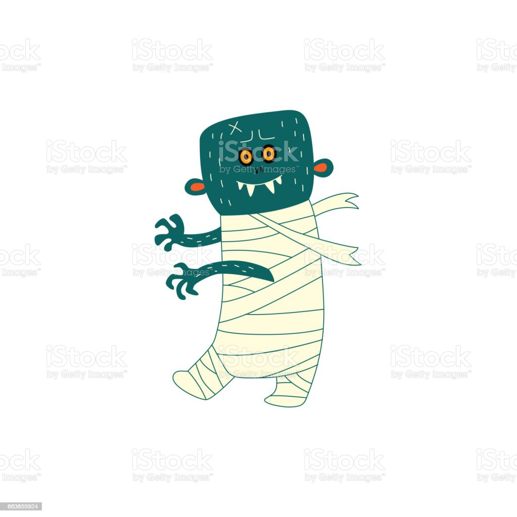 vector flat halloween walking zombie vector art illustration