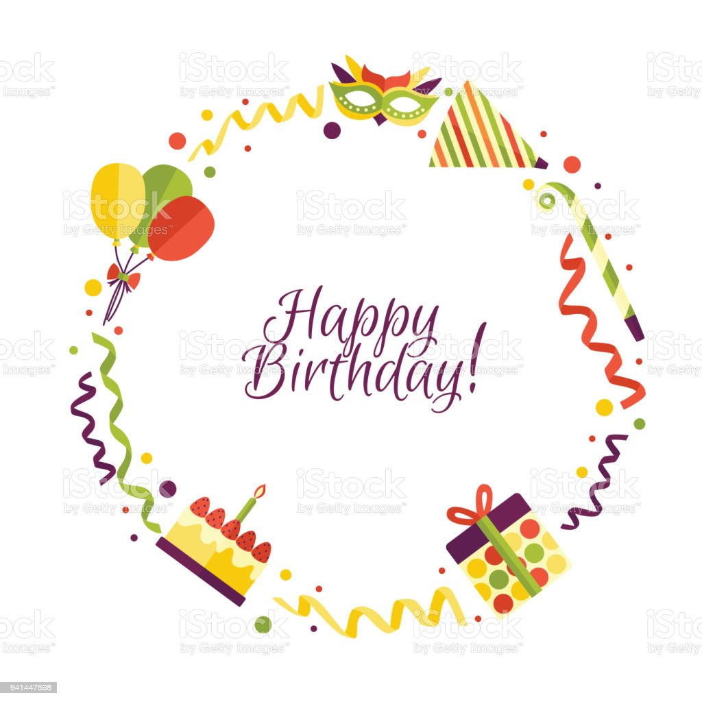 Vector Flat Happy Birthday Card Template Royalty Free Vector Flat Happy Birthday  Card Template Stock