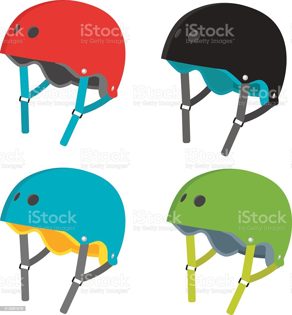 Vector flat helmets icons isolated on white background vector art illustration