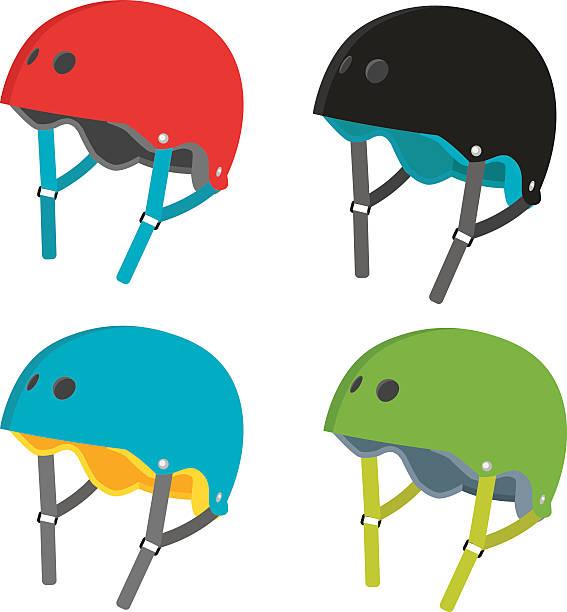 vektor flache helme symbole, isoliert auf weißem hintergrund - sportschutzhelm stock-grafiken, -clipart, -cartoons und -symbole