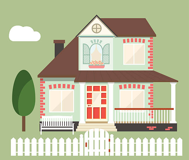 vector flat house  flat house. vector illustration porch stock illustrations