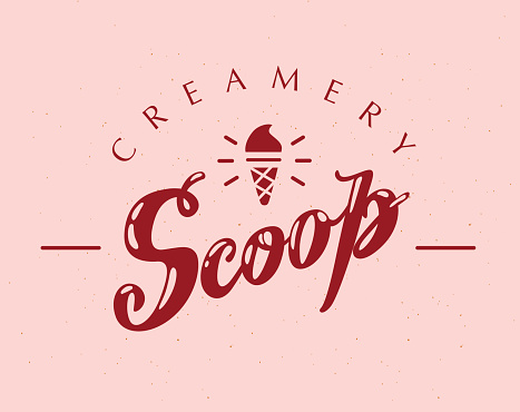 Vector flat ice cream truck, shop, store icon with hand written font and ice cream cone, confetti isolated on white background.